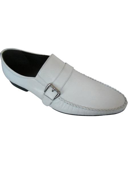 SKU#SM1673 Zota Brand Mens White Leather Side Buckle And Strap Italian Style Loafers