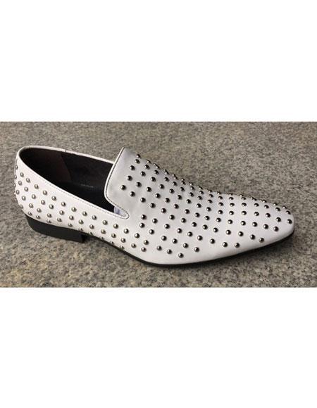 Men's White Genuine Suede Soft Genuine leather Studs Design Slip-On Stylish Dress Loafer Unique Zota Men's Dress Oxford Shoes Perfect for Men