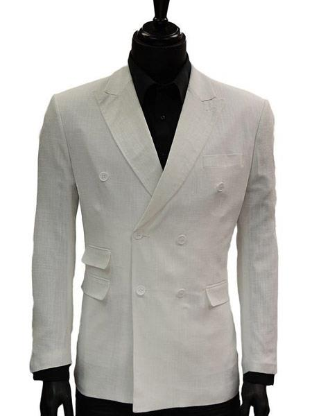 Lanzino Mens Double Breasted Suits Jacket Solid White Linen Dress Casual Jacket Blazer