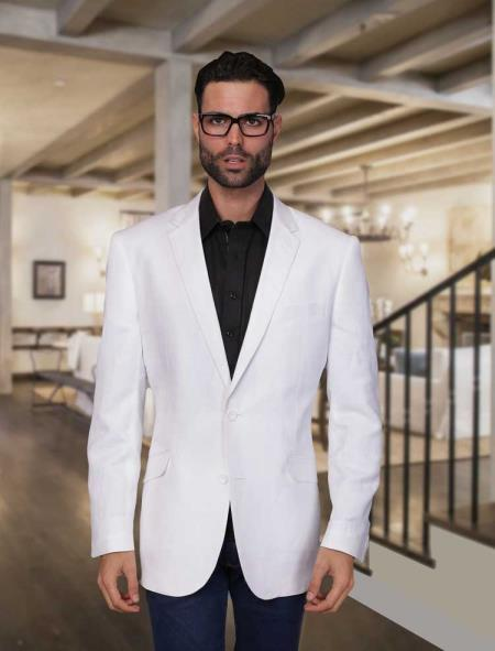 White Linen Sport coat ~ Mens Summer Light Weight Blazer Jacket