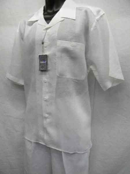 Men's White Linen 2 Piece Short Sleeve Casual Outfit Casual Two Piece Walking Outfit For Sale Pant Sets Suit all white outfits for men