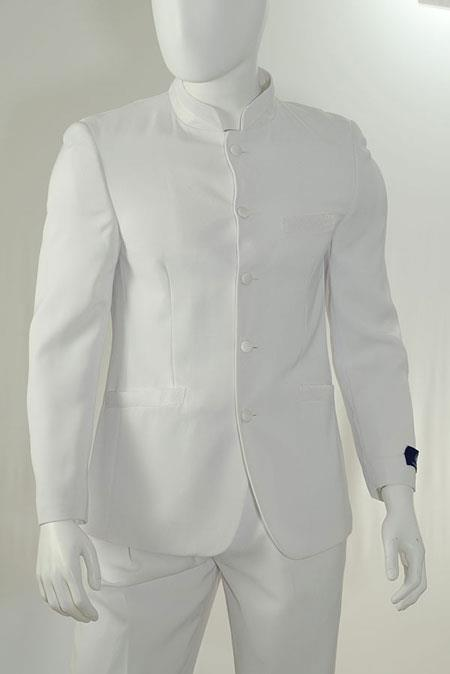 KA4636 2 Piece Mandarin Collar Suit Fabric Covered Buttons-White