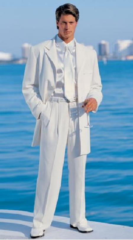 SKU# Emily_T75 Mens White Modern Dress Fashion suit