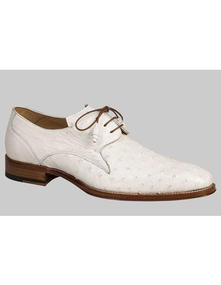 Buy AP444 Mens White Genuine Ostrich Skin Lace Exotic Blucher Oxford Leather Shoes Authentic Mezlan Brand