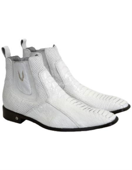 Mens White Vestigium Genuine Ostrich Leg Chelsea Boots