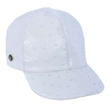 SKU#QVR32 Baseball White Genuine Ostrich Cap