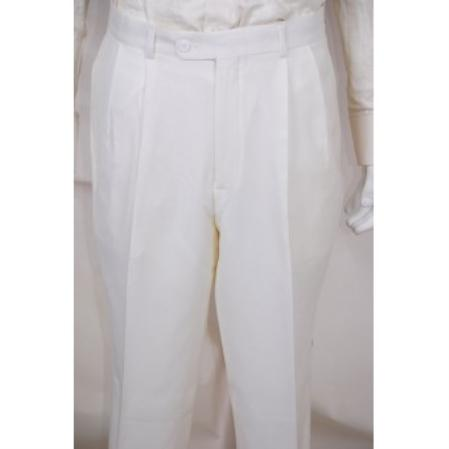 Mens Dress Pants Solid White 2 Pleated Wool Suit