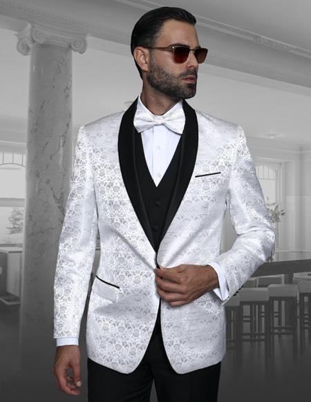 Alberto Nardoni Brand Mens Blazer Shawl Lapel White Shadow Floral Dinner Jacket Sport Coat