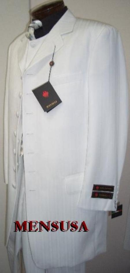 SKU# MP87 Mens White Shadow Stripe Ton on Ton Fashion Dress Zoot Suit $139