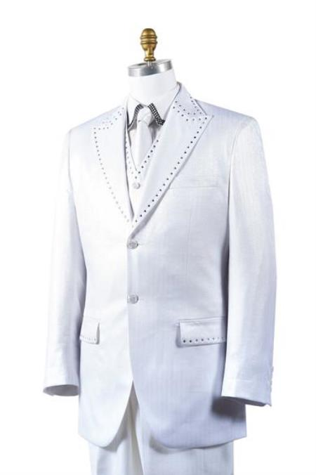 Mens White Sharkskin Rhinestone 3 Piece Entertainer Suit