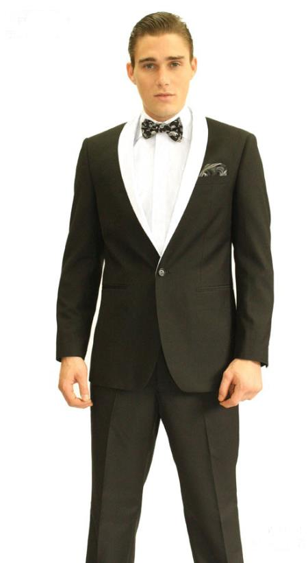 Single Button Black And White Shawl Lapel Tuxedo Suit Dinner Jacket  & Black Pants