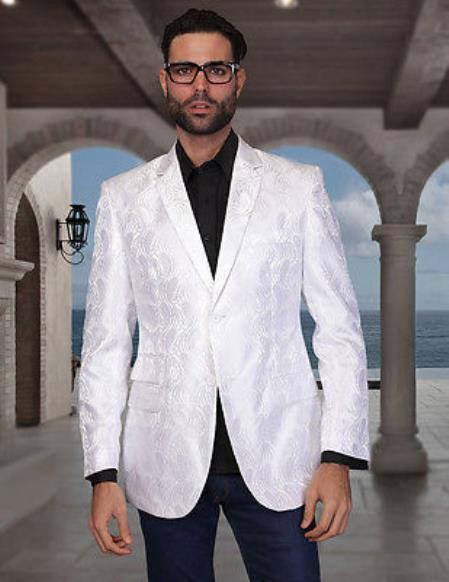 Floral Satin Shiny Flashy Silky Satin Stage Fancy Stage Party Party Dance Mens White Woven P A I S L E Y Sport Coat / Blazer