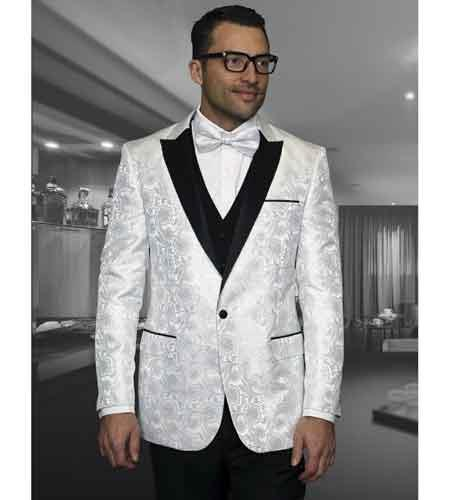 Floral White Men's Shiny Satin Dinner Jacket Blazer Paisley Sport Coat  Flashy Silky Satin Stage Fancy Stage Party Dance Jacket Fashion Tuxedo For Men