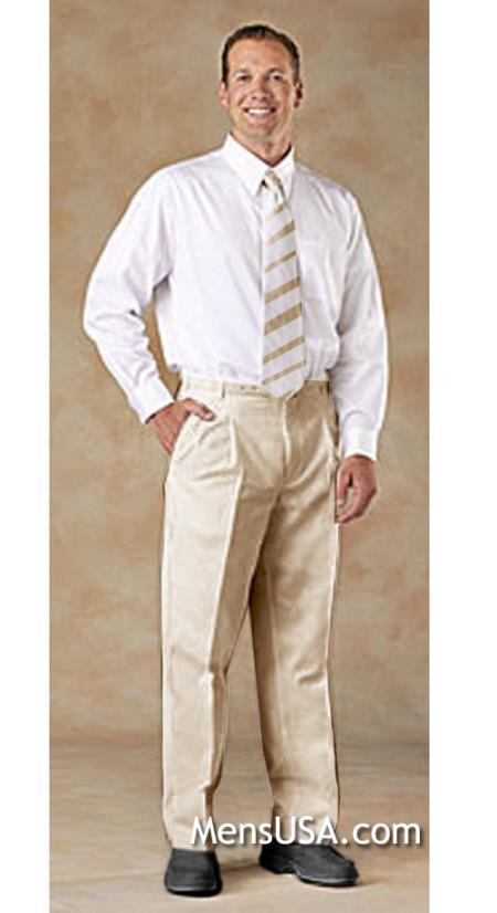 Mens Pleated Pants / Slacks Plus White Shirt & Matching Tie Beige unhemmed unfinished bottom