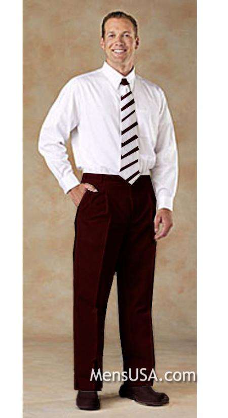 Men's Pleated Pants / Slacks Plus White Shirt & Matching Tie Brown unhemmed unfinished bottom
