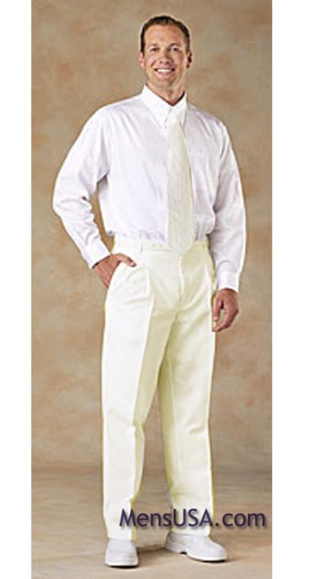 Men's Pleated Pants / Slacks Plus White Shirt & Matching Tie Ivory unhemmed unfinished bottom