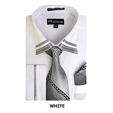 Mens Long Sleeve  Fashion Shirt with Matching Tie, Hankie Set White