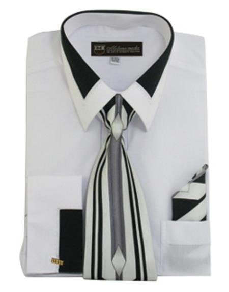 Men's White French Cuff Matching Tie and Hanky Set