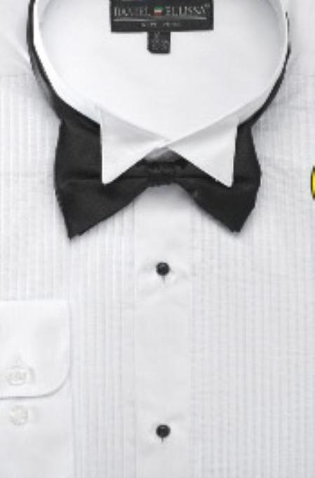 Mens Wing Tip Tuxedo Shirt with Bow Tie
