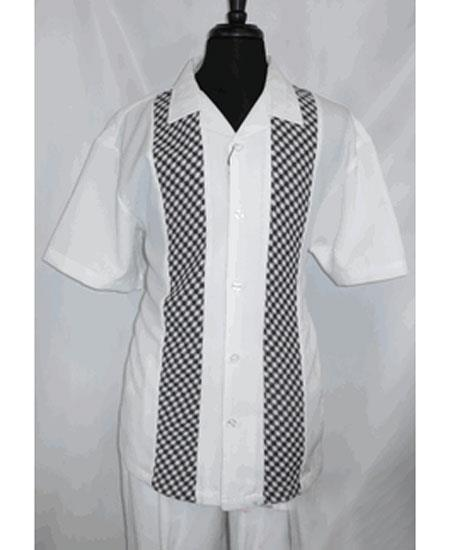 Mens White Short Sleeve 5 Buttons Side Vents Shirt