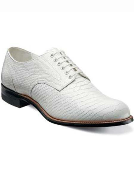 SKU#SM2972 Stacy Adams White Snakeprint Leather Six Eyelet Laceup Style Shoes 10 days delivery