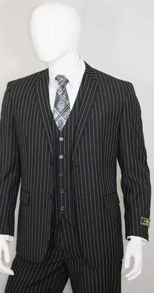White Stripe 2 Buttons With Vest Jet Liquid Black Suit