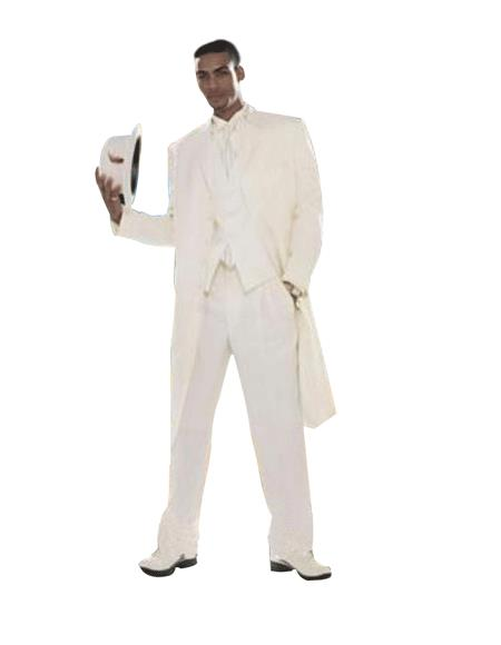 Men's Super Stylish Long Off White/Ivory/Cream Fashion Dress Zoot Suits For Men 38 Inch Long