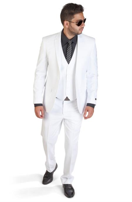 Slim Fit Men 3 Piece Notch Lapel Vested White Suit With Back Welt Pockets