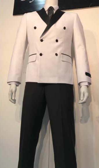 Double Breasted Tuxedo Mens White and Black Lapel Double Breasted Suits Tuxedo Looking