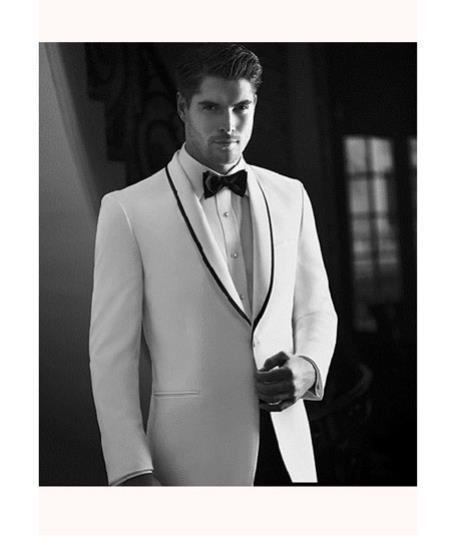 Mens White Tuxedo Dinner Jacket Suit Shawl Collar with Black trim lapel 1 button + Pants