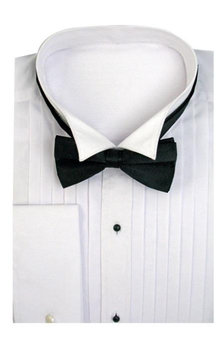 SKU#TS-3821 Mens Tuxedo Dress Shirt Wing Collar with Bow-Tie Set French Cuff White