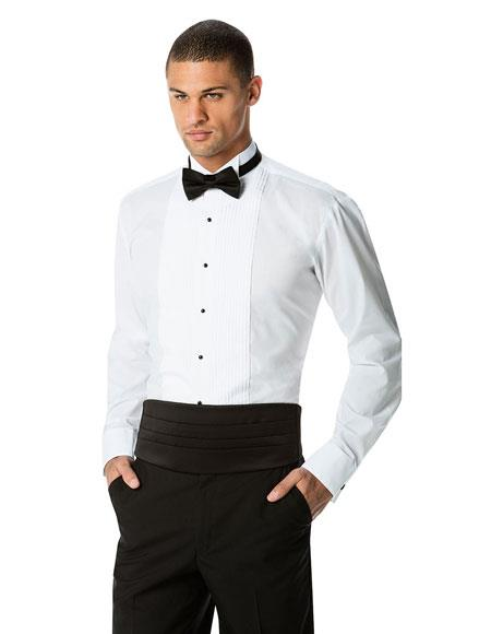 Men's White Pleated White Tuxedo Shirt + Black Cummerband & Black Bowtie