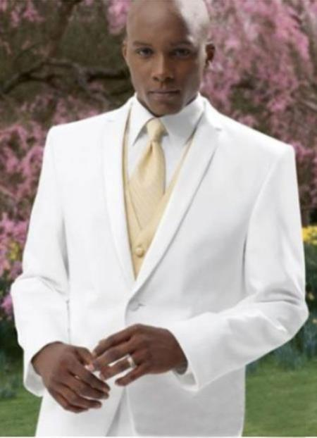 2 Button Style White Tuxedo Suit + Tux Shirt & Bow Tie With Any Color Optional Color Ve