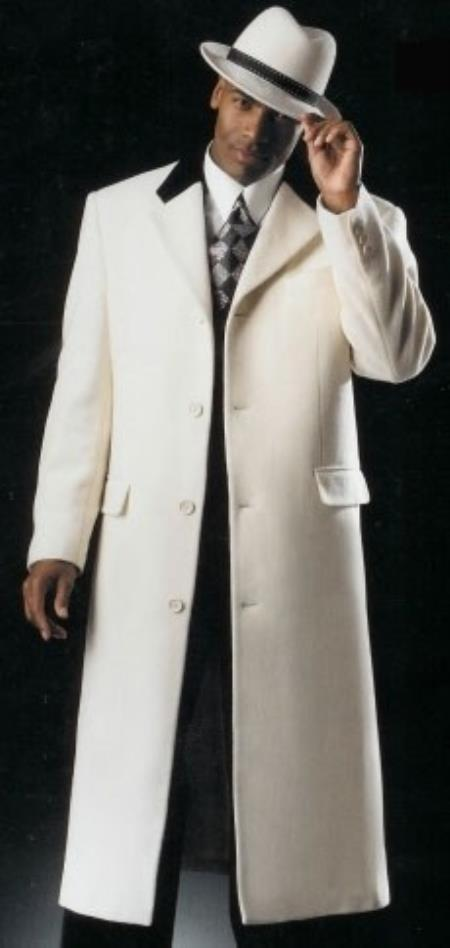 Mens White with Black Velvet Collar Overcoat ~ Topcoats i
