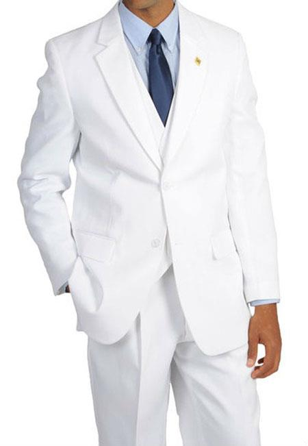 Mens Stacy Adams Suny Vested All White Suit For Men 3 Piece Suit Pleated Pants