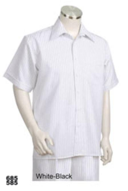 Mens Short Sleeve 2piece Casual Walking Suit White