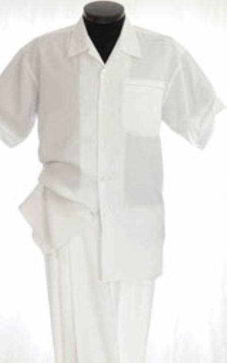 White Walking Suit Mens Short Sleeve Two Piece Two Piece Walking Outfit Pant Sets Suit All White Outfits For Men Short or Long Pants Leisure Casual Suit For Sale