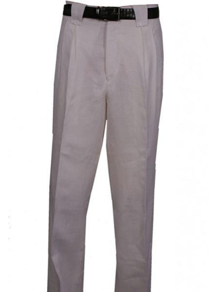 Mens Veronesi Wide Leg Pleated Pant With Lining White