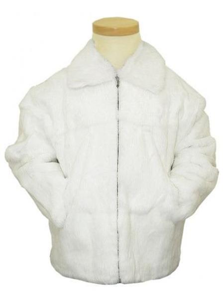 Bagazio Genuine Full Skin Rabbit Fur White Pull-Up Zipper Style Big and Tall Bomber Jacket