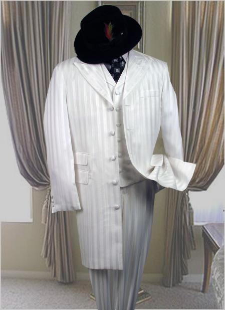 AC204 SNOW WHITE 3PC FASHION ZOOT Suits For Men WITH A VEST