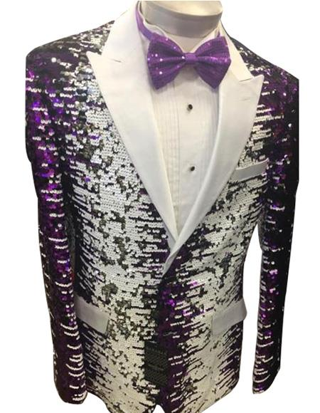 White and Purple Sequin Tuxedo Dinner Jacket Blazer Perfect for Prom or Wedding