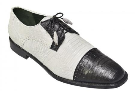 SKU#PN-0 Los Altos White / Black Genuine Crocodile ~ World Best Alligator ~ Gator Skin Belly & Lizard Shoes