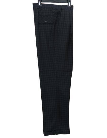 Men's Real Window Pane ~ Plaid Wide Leg Pants Taupe Men's Wide Leg Trousers - Cheap Priced Dress Slacks For Men On Sale