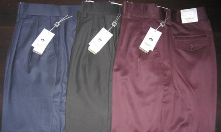 Men's Wide Leg Wool Slacks in Black, Brown, Beige, Navy, Charcoal & Very Dark Purple~ Eggplant