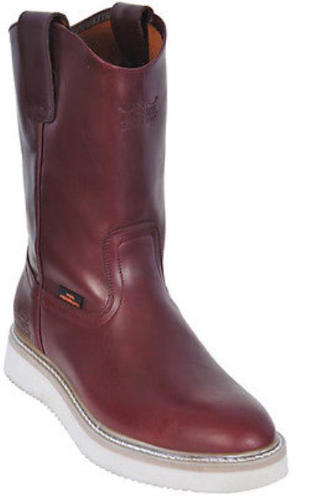 Buy KA5559 Mens Work BOOTS Burgundy ~ Maroon ~ Wine Color Round Toe Leather Grasso Los Altos Safety Harness