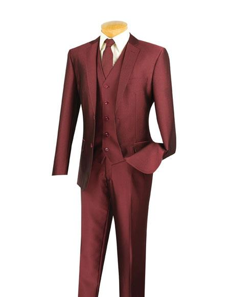 Mens Two Buttons Single Breasted Notch Lapel Slim Fit 3 Piece Executive Wine Suit