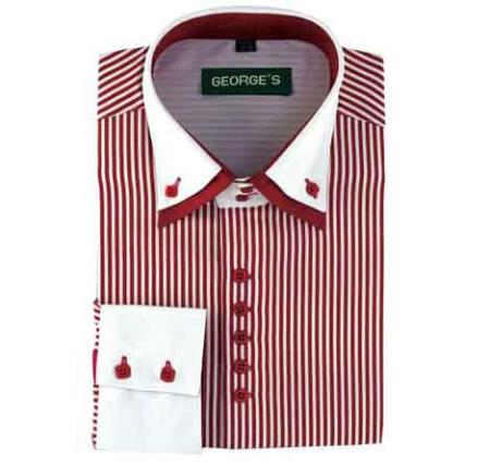 Buy SM484 Men's Wine Standard Cuff Long Sleeve White Collar Two Toned Contrast Two Tone Striped Dress Shirt White Collared Contrast