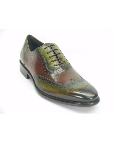 Mens Wingtip Hand Paint Medallion Oxford Olive/Brown Lace Up Shoes