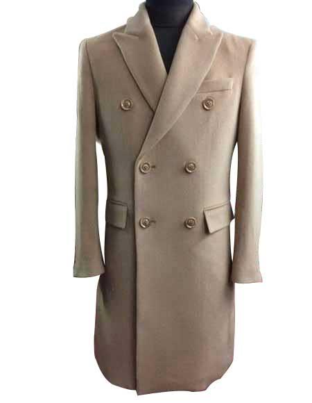 Mens Winter Wool Double Breasted Long Overcoat Beige ~ Camel Full Length or Three Quarter Winter Mens Topcoat Sale