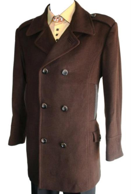SKU#KT36 Mens Peacoat Wool Blend Double Breasted 6 Button Brown